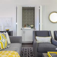 Contemporary Gray Living Room With Yellow Accents