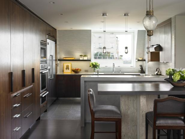 Modern Kitchen Features Zinc Bar, Views of Manhattan