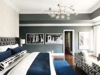 Gray Contemporary Bedroom With Blue Rug