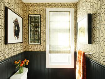 Yellow and Black Powder Room With Wallpaper