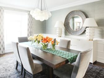 Gray and White Contemporary Dining Room With Flowers