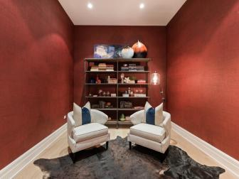 Contemporary Study with Saturated Red Walls