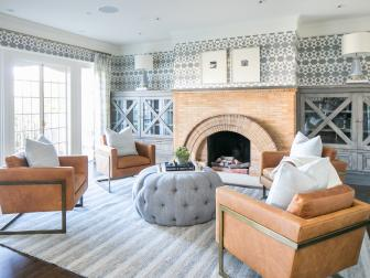 Gray Contemporary Sitting Room With Brick Fireplace