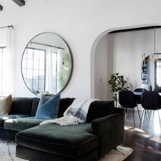 Contemporary Living Room With Round Mirror Part 33