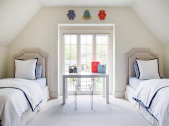 Kids' Upstairs Bedroom With Desk and Twin Beds