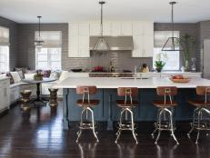 Transitional Gray Kitchen With Large Island