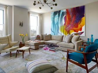 Multicolor Midcentury Family Room With Rainbow Art