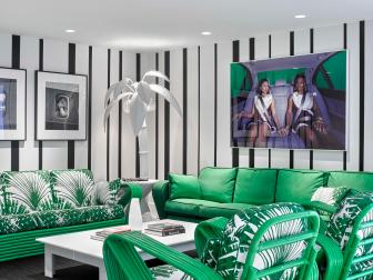 Green and White Tropical Sitting Room With Striped Walls