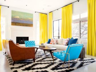 Midcentury Living Room With Yellow Curtains