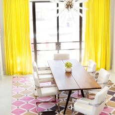 Multicolored Contemporary Dining Room With Yellow Curtains