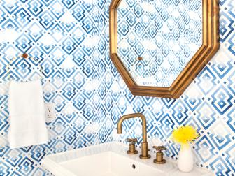 Blue Powder Bath With Graphic Wallpaper