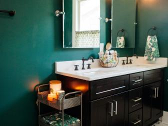 Contemporary Green Bathroom with His-and-Hers Sinks