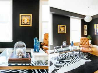 Eclectic Living Room With Dramatic Black Walls
