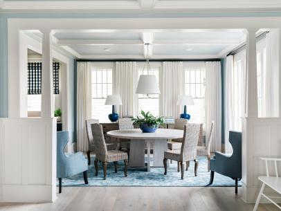 updated dining room shines with breezy blue and white. beautiful ideas. Home Design Ideas