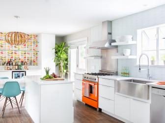 Midcentury Modern Kitchen With Stainless Steel Apron Sink