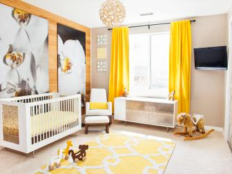 Bright Nursery With White Crib, Mural and Yellow Curtains