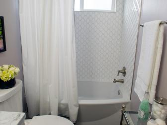 Contemporary White Master Bathroom with White Hex Tiles