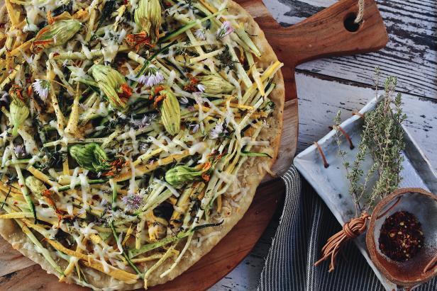 Summer Squash Flatbread Pizza