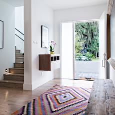 Contemporary Foyer With Colorful Rug