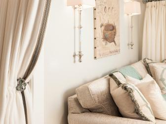 Neutral Sitting Area With Border-Trim Tieback Curtain