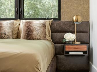 Gold Bedroom With Leather Headboard