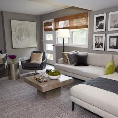 Modern Gray Living Room With Neutral Sectional
