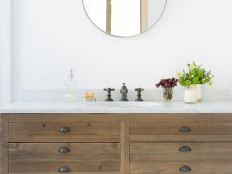 Bathroom Vanity and Round Mirror