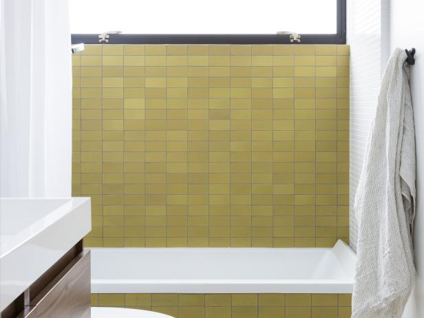 Small Bathroom With Green Tile Backsplash
