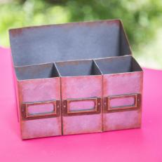 Galvanized Metal Cardboard Box Desk Organizer Final Paint