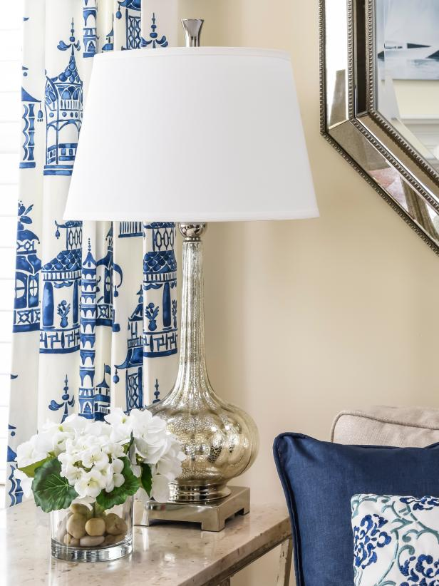 Silver Table Lamp With Blue and White Chinoiserie Curtains