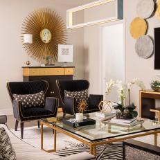 Metallic Living Space Photos HGTV - Family room seating