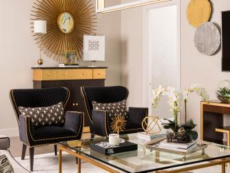 Midcentury Modern, Black Velvet, Pin-Stripe Wingback Chairs Add Seating to the Family Room