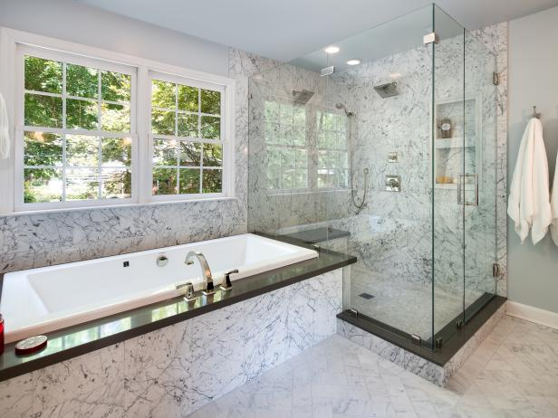 Unique Design in Master Bathroom Shower and Tub Area