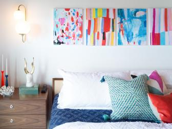 Multicolored Eclectic Bedroom With Bright Art