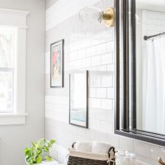 Contemporary White Bathroom With White Subway Tile Backsplash