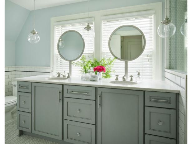 Blue Bathroom With Gray Double Vanity