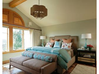 Blue Transitional Bedroom With Arched Shutters