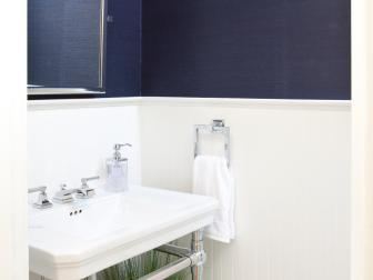 Contemporary Blue Powder Room