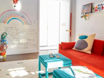 Multicolored Kids' Room With Kid Mural