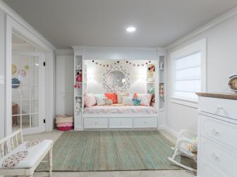 Contemporary White Girl's Bedroom with White Bed Nook