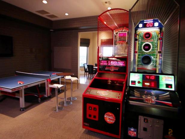 Game room design photos ideas hgtv Room decorating games for adults