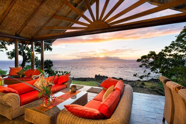Fiji Private Island Estate Deck/Living Room