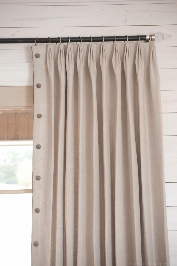 Neutral Curtain on Black Curtain Rod, Dots Down Side