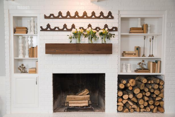 Stained Wood-Beam Mantel