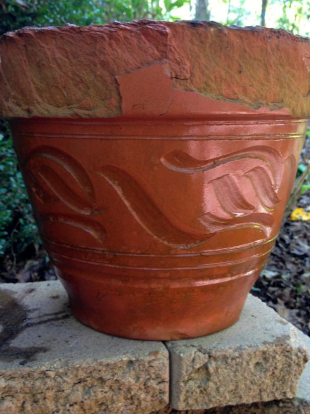 Broken terra cotta pot