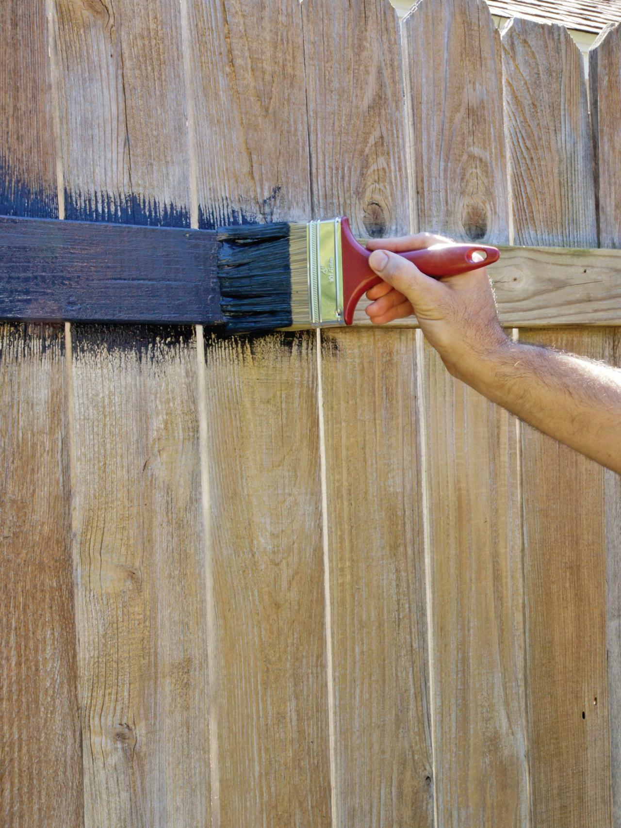 Fence painting and staining guide quick tips hgtv Garden wall color ideas