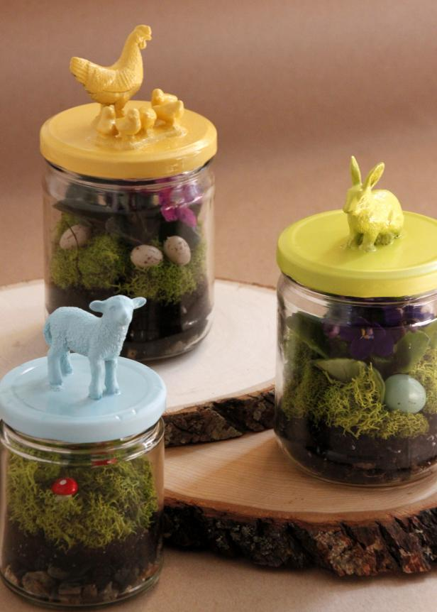 Upcycled Easter Terrariums