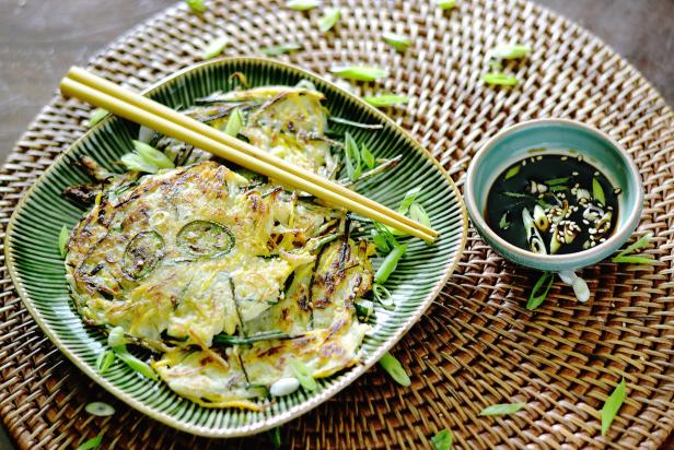 Summer Squash Pancake with Soy Dipping Sauce