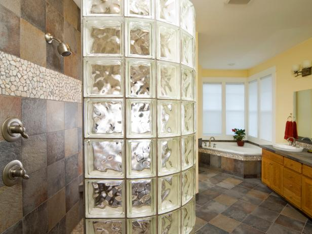 Glass Block Bathroom Wall