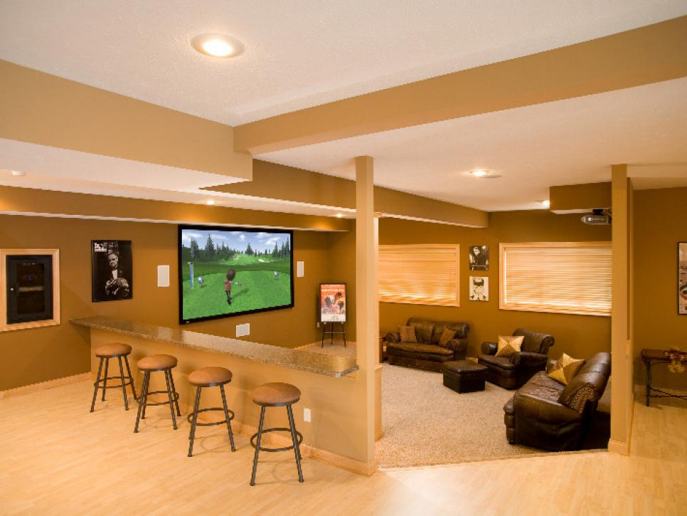 Media rooms and home theaters by budget hgtv Home theater design ideas on a budget